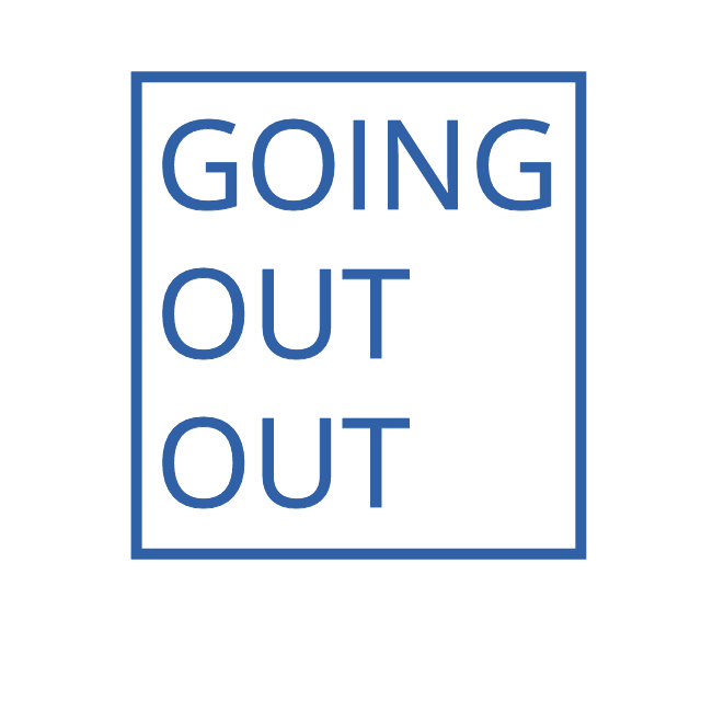 going out out logo blue